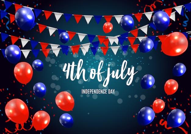 Independence day in de vs kan worden gebruikt als banner of poster Premium Vector