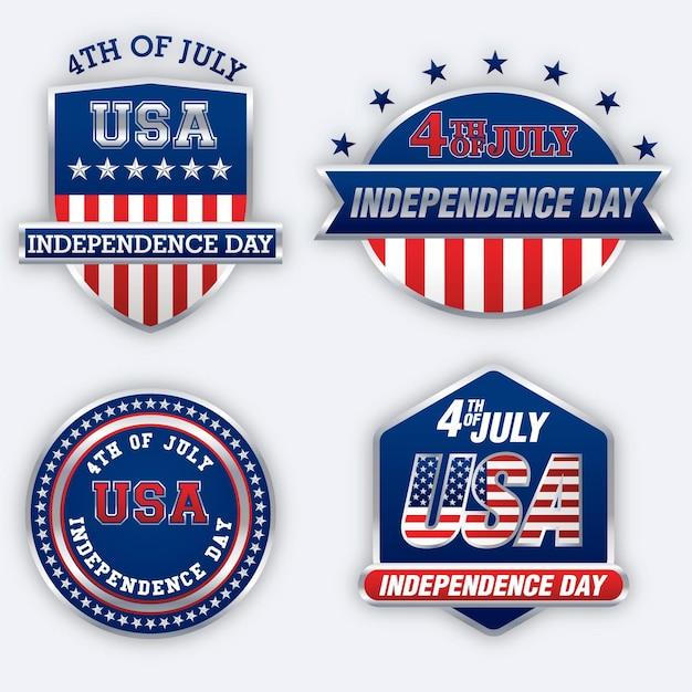 Independence day labels-collectie Gratis Vector