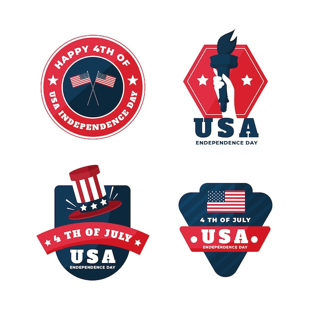 Independence day labels pack Gratis Vector