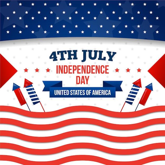 Independence day plat ontwerp Gratis Vector