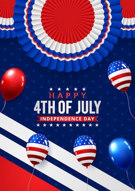 Independence day usa poster sjabloon amerikaanse ballonnen vlag. Premium Vector