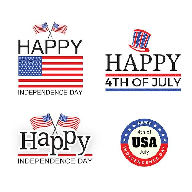 Independence day vlag banner elementen Premium Vector