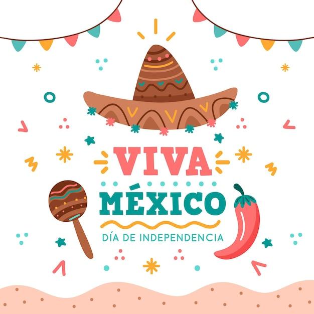 Independencia de méxico met hoed en maracas Gratis Vector