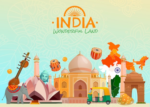 India achtergrond Gratis Vector