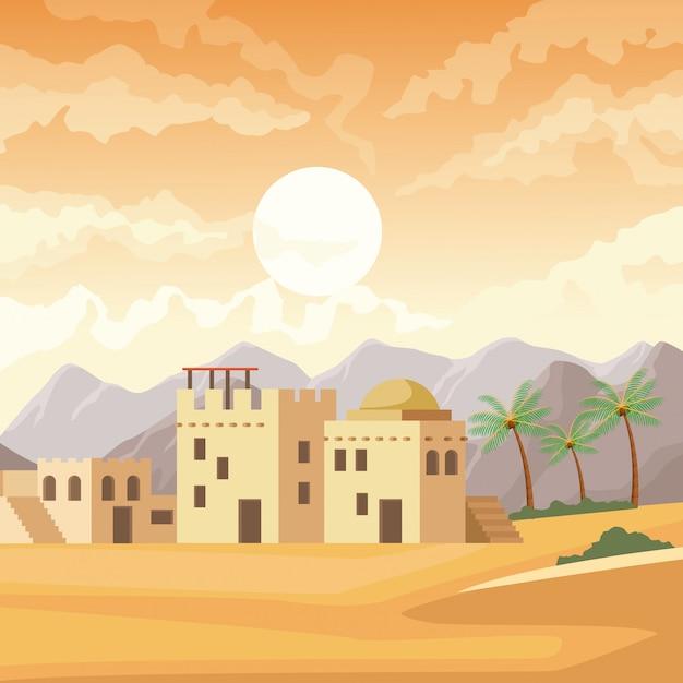 India gebouwen in de woestijn landschap cartoon Premium Vector