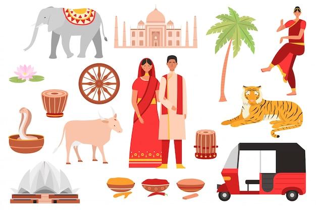 India, indiase cultuursymbolen, reisset met boeddhisme, toeristische objecten en landvoedsel, architectuur en mensen geïsoleerde set illustraties. Premium Vector