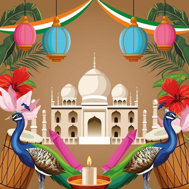 India nationaal monumententoerisme Premium Vector
