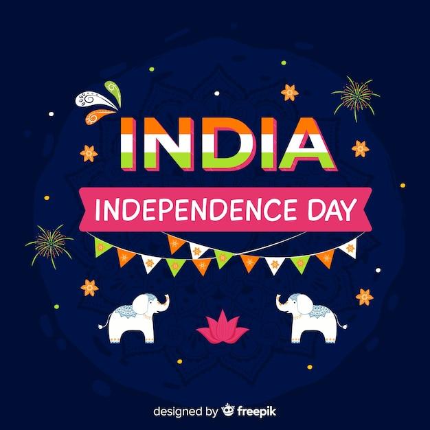 India onafhankelijkheidsdag achtergrond in indiase kunststijl Gratis Vector