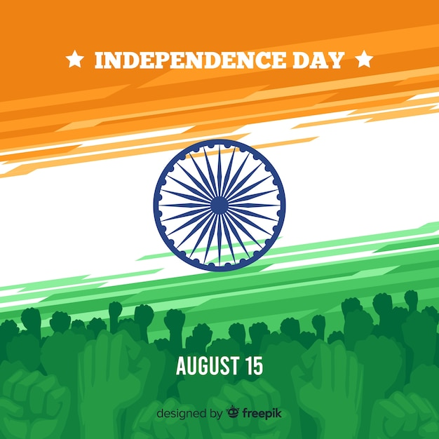 India onafhankelijkheidsdag achtergrond platte ontwerp Gratis Vector