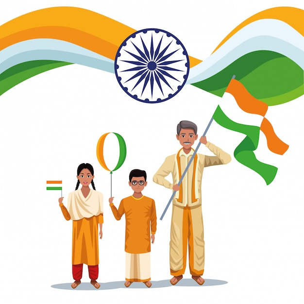 India onafhankelijkheidsdag kaart Gratis Vector
