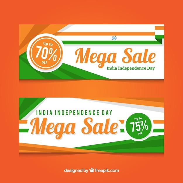 India onafhankelijkheidsdag verkoop banners met platte ontwerp Gratis Vector