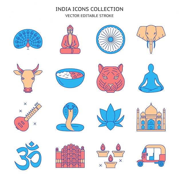 India pictogrammen instellen Premium Vector