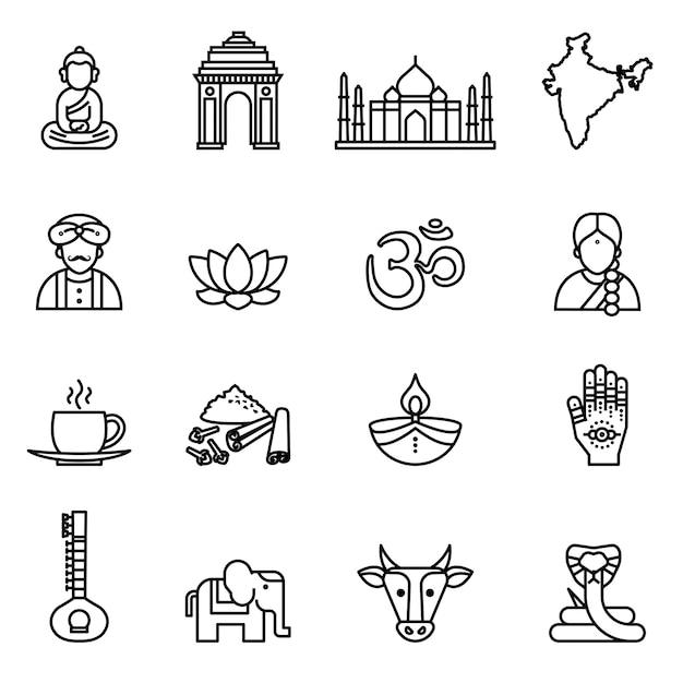 India, pictogrammenverzameling. dunne lijn stijl voorraad vector. Premium Vector