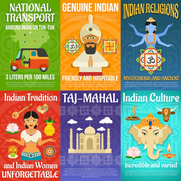 India poster set Gratis Vector