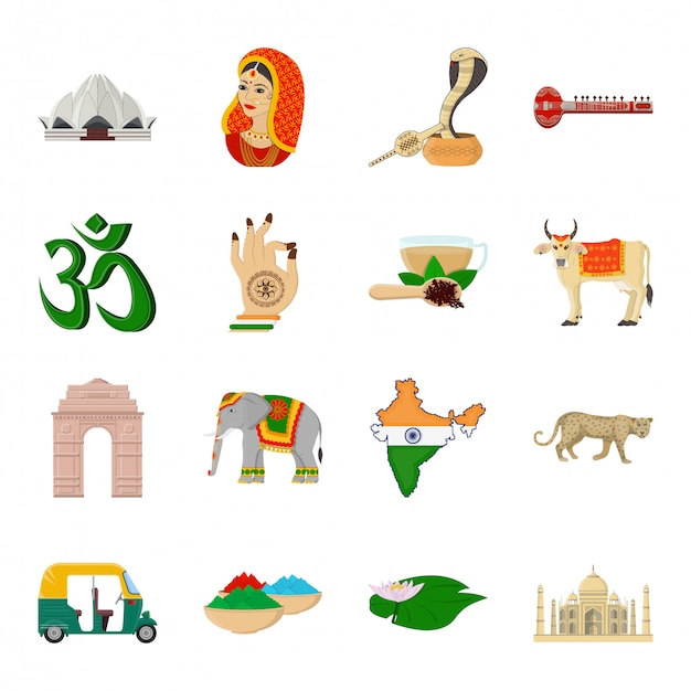 India van land cartoon ingesteld pictogram Premium Vector