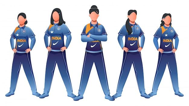India women cricket team in standing pose op witte achtergrond. Premium Vector