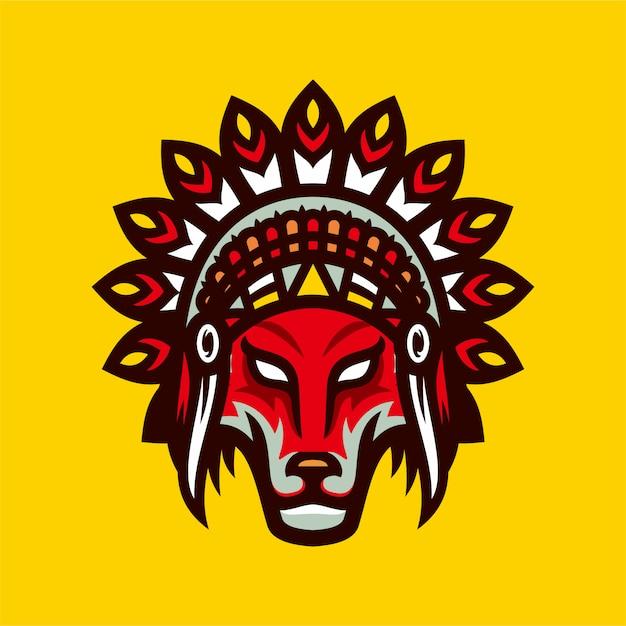 Indiaanse wolve esports logo mascotte vectorillustratie Premium Vector