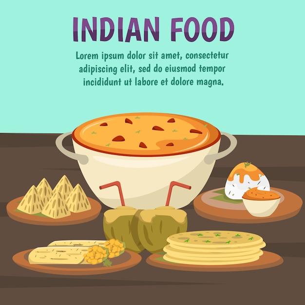 Indiaas eten achtergrond Gratis Vector