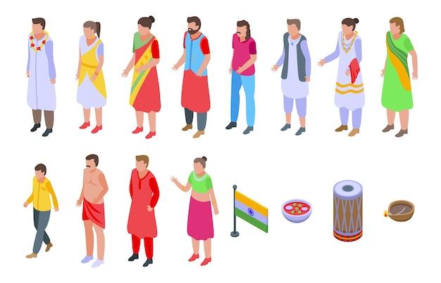 Indianen pictogrammen instellen. isometrische set van indianen iconen voor web geïsoleerd op een witte achtergrond Premium Vector