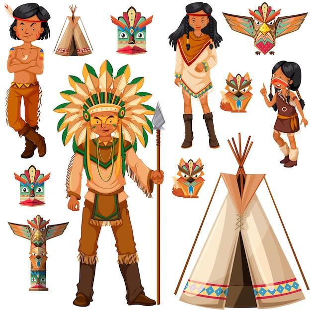 Indiase-amerikaanse indiase mensen en teepee illustratie Gratis Vector