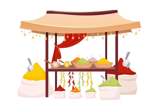 Indiase bazaar tent met specerijen en kruiden cartoon afbeelding. oosterse marktluifel met exotische kruiden, traditionele curry en chilipeper. oostelijke luifel geïsoleerd op wit Premium Vector