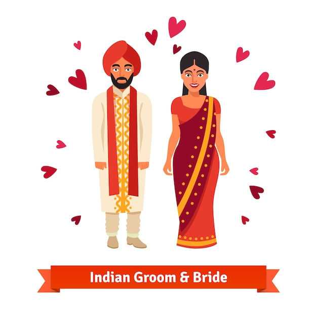 Indiase bruiloft, bruid, bruidegom in nationale kostuums Gratis Vector