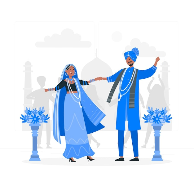 Indiase bruiloft concept illustratie Gratis Vector