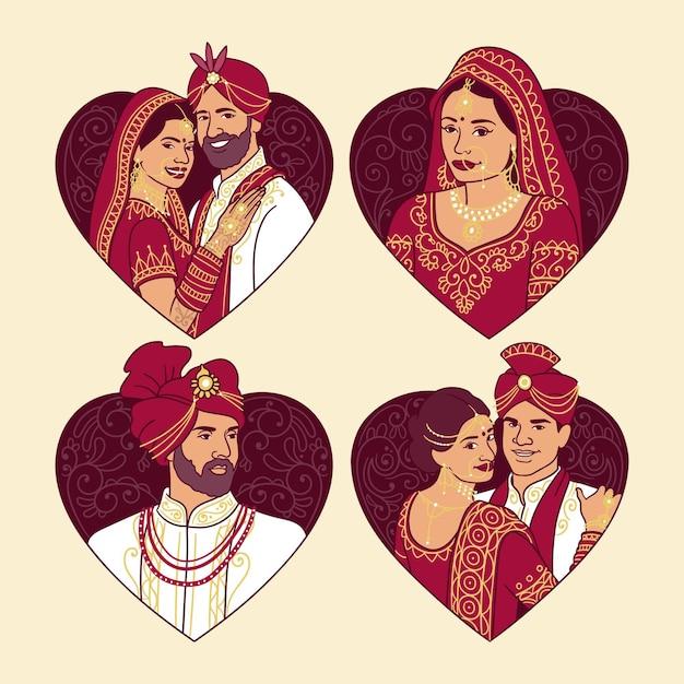 Indiase bruiloft karakterverzameling Gratis Vector