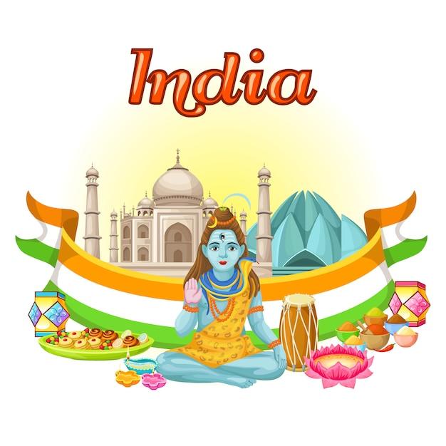 Indiase cultuur traditionele sjabloon Gratis Vector