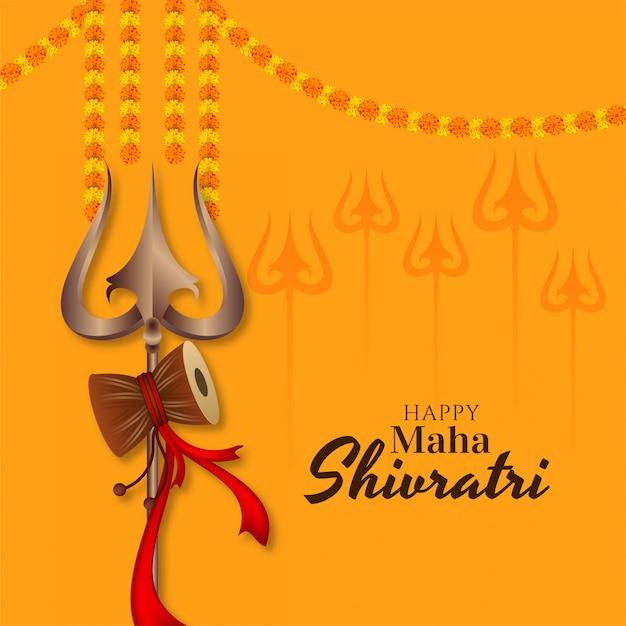 Indiase festival maha shivratri wenskaart met trishul Gratis Vector