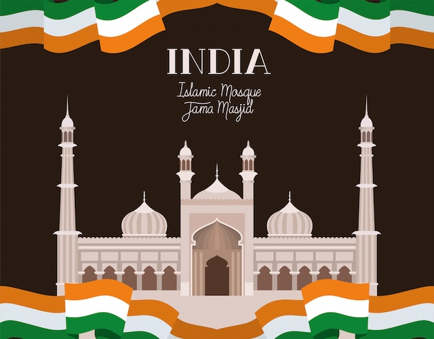 Indiase jama masjid tempel met vlag Gratis Vector