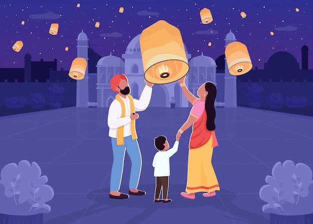 Indiase lantaarn festival egale kleur illustratie. ouder en kind met licht. diwali-viering. traditionele hindoe-vakantie. familie 2d stripfiguren met nachtelijke stadsgezicht op achtergrond Premium Vector