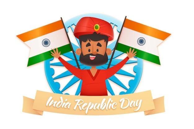 Indiase man in traditionele kleding en vlaggen Gratis Vector