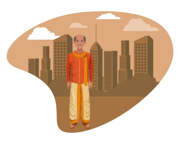 Indiase man met traditionele hindoe kleding Premium Vector