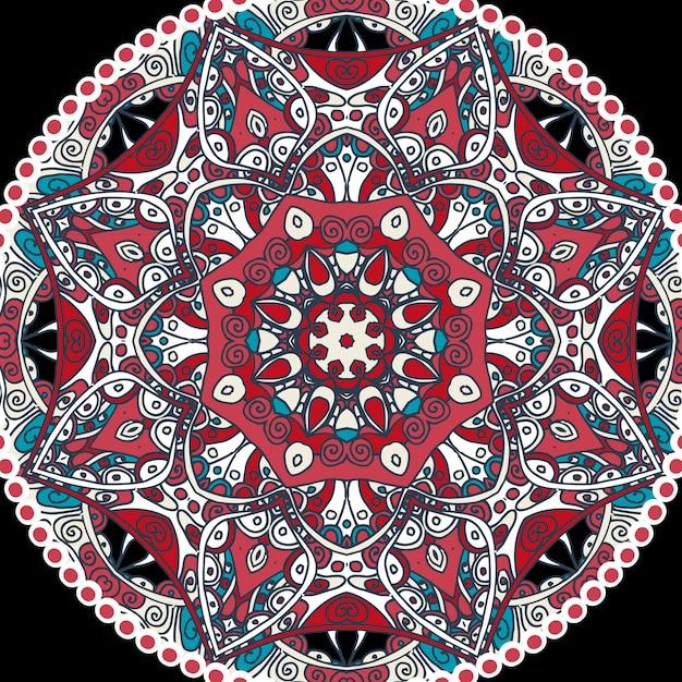 Indiase mandala-ornament Gratis Vector