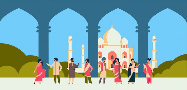 Indiase mensen groep dragen nationale traditionele hindoe kleding Premium Vector