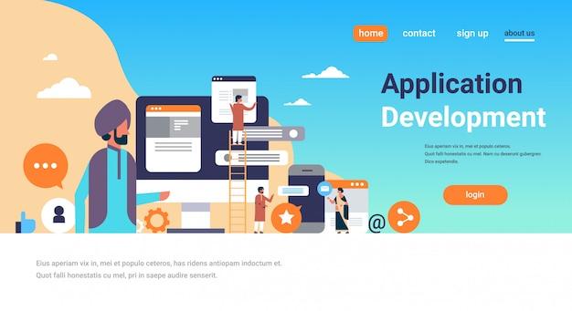 Indiase mensen mobiele applicatie ontwikkeling banner Premium Vector