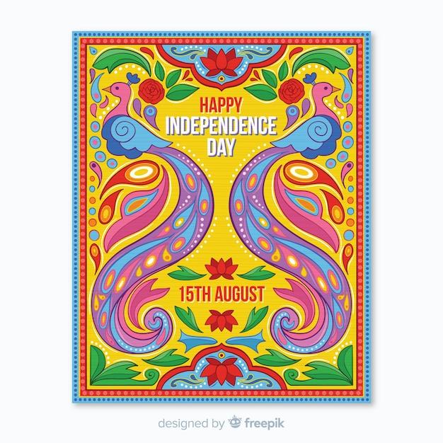 Indiase onafhankelijkheidsdag poster sjabloon Gratis Vector