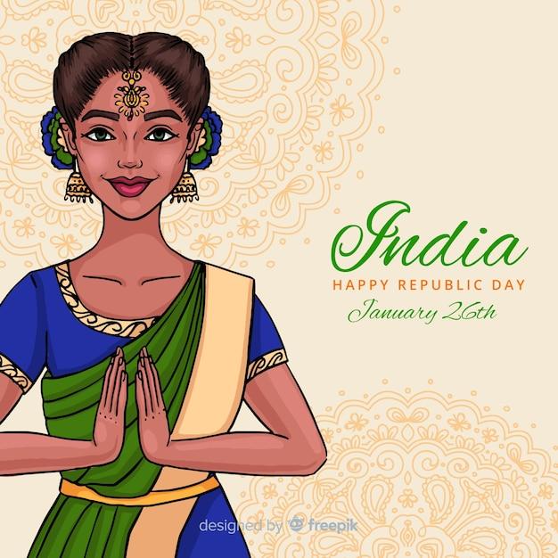 Indiase republiek dag achtergrond Gratis Vector