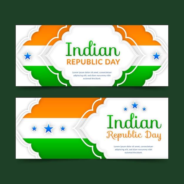 Indiase republiek dag banners sjabloon Gratis Vector