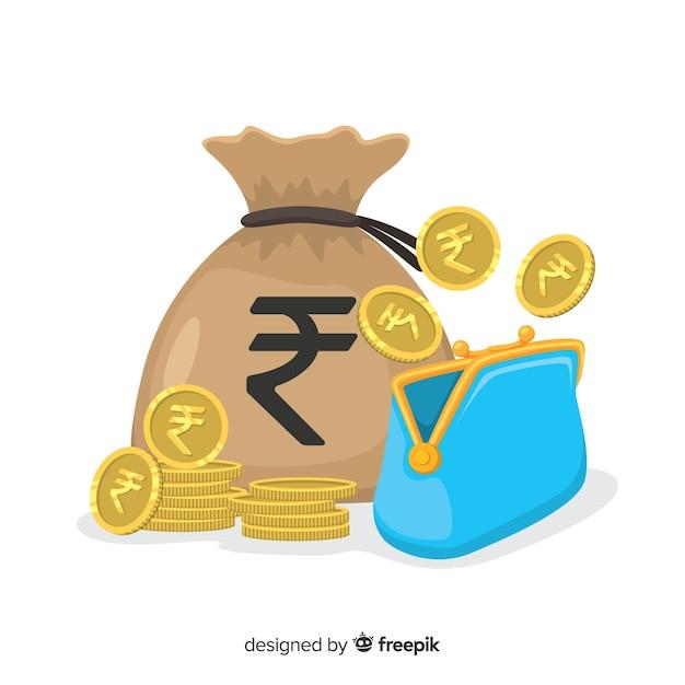 Indiase roepie geld tas Gratis Vector