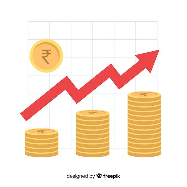 Indiase roepie investeringen concept Gratis Vector