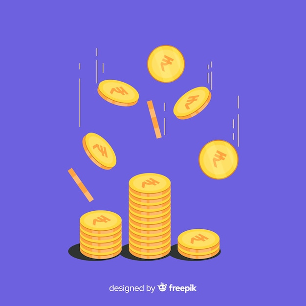 Indiase roepie munten vallende achtergrond Gratis Vector