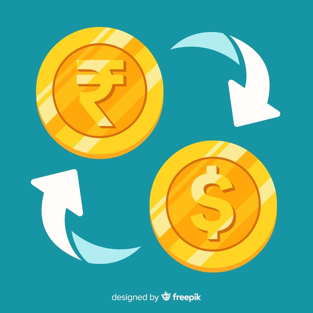 Indiase roepie wisselkantoor Gratis Vector