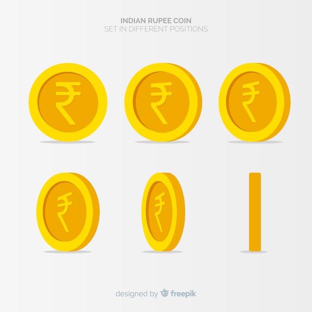 Indiase rupees muntset Gratis Vector