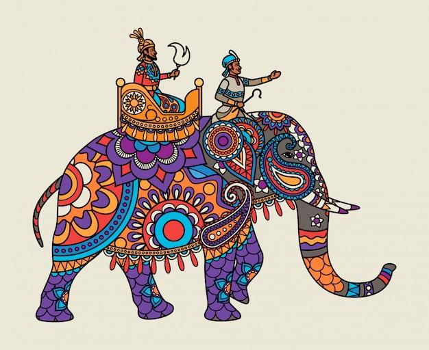 Indiase sierlijke maharajah op de olifant Premium Vector