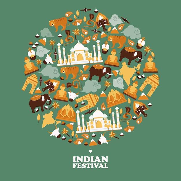 Indiase symbolen in ronde framesamenstelling, Premium Vector