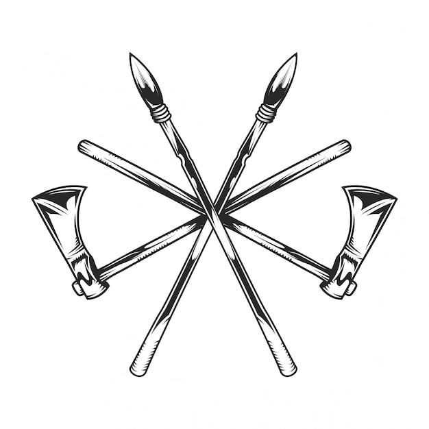 Indiase tomahawk en speren Premium Vector