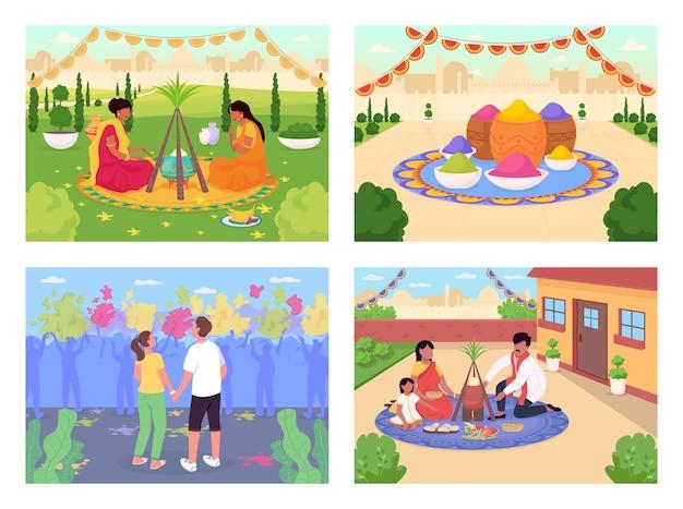 Indiase vakantie egale kleur illustratie set Premium Vector
