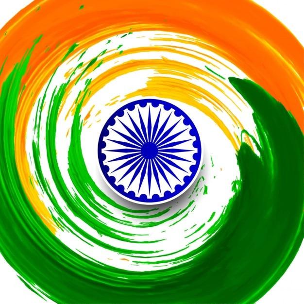 Indiase vlag thema aquarel wervelingsachtergrond Gratis Vector